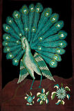 The peacock. Painted canvas depicting a peacock Stock Images