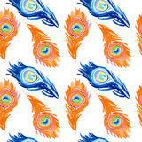 Peacock pattern. seamless watercolor background. stock illustration