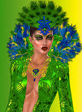 Peacock Queen Close Up. Fashioned in opulent feathers of blues and greens is the exquisite gown worn by the Goddess who breathed Stock Images