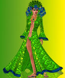 Peacock Queen. Fashioned in opulent feathers of blues and greens is the exquisite gown worn by the Goddess who breathed Royalty Free Stock Photos