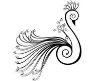 Peacock stylised in swirls