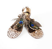 Peacock topped leopard sandals Stock Images
