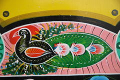 Peacock. Truck paintingis a popular form of indigenous art inAfghanistan,Pakistan,India, and otherSouth Asiancountries, featuring floral patterns and Royalty Free Stock Image