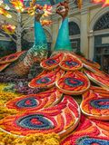 Peacocks on display at the Bellagio. Autumn festival display in the Bellagio Resort, Las Vegas, Nevada Stock Image