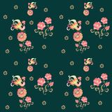 Peacocks and flowers. Cute floral seamless pattern. Summer print.  vector illustration