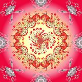 Peacocks and flowers on gradient background. Vector illustration of colorful shawl. Ornamental bandana or silk neck scarf. Kerchief square pattern Royalty Free Stock Photos