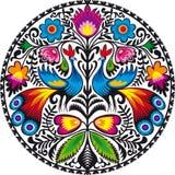 Peacocks. Illustration of Polish traditional papercut from Lowicz region Royalty Free Stock Photo