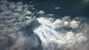 Peak Above The Clouds - Digital Painting. Digital illustration of an aerial-view of a snow-covered mountain peak Royalty Free Stock Photography