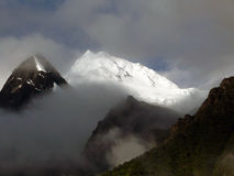 Peak of the Annapurna II Covered in Monsoon Clouds royalty free stock photography