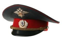 Peak-cap of the Russian militiaman Royalty Free Stock Photos
