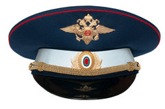 Peak-cap of the Russian officer of traffic. Police on a white background Royalty Free Stock Photography