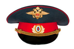 Peak-cap of the Russian policeman. On a white background Royalty Free Stock Image