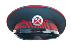 Peak-cap of the Russian railroader. On a white background Royalty Free Stock Photos