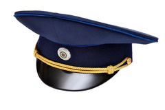 Peak-cap of the society of voluntary firem. Peak-cap of the Russian society of voluntary firemen Royalty Free Stock Images
