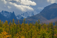 The Peak Challenger. Challenger peak in the mountain System ranges of the Great Anngachag Royalty Free Stock Photos
