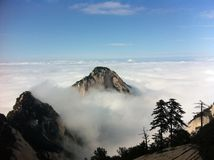Peak in clouds. Huashan of china Royalty Free Stock Photography