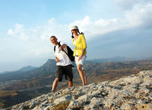 Peak is conquered! Royalty Free Stock Photos