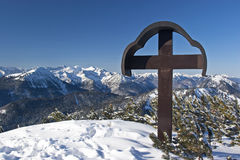 Peak cross in winter Royalty Free Stock Image