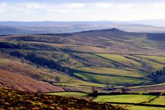 Peak District, Derbyshire, UK. Millstone Edge, Derbyshire, UK. January 29, 2018. A view of Millstone Edge and Over OwlerTor from Stanage Edge in Winter at stock photography