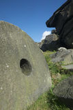 Peak District millstones at Stanage edge,  Derbyshire Stock Photos