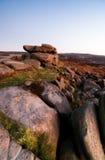 Peak District, Owler Tor. Owler Tor Rocks at Sunset Royalty Free Stock Photo