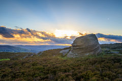 Peak District sunbeam. A beautiful sunset beam in the Peak District Stock Images