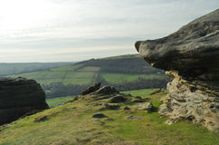Peak District view between two rocks Stock Image