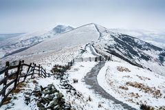 Peak District in winter. Hollins Cross, Back Tor and Lose Hill in winter. Viewed from Mam Tor, Peak District, UK Royalty Free Stock Photo
