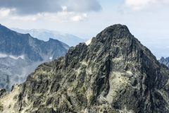 Peak Durny Szczyt Pysny stit - An outstanding peak in the high tatras in Slovakia. The goal of ambitious tourist trips and climb royalty free stock photos