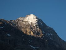 Peak Of The Eiger. In the early morning stock images