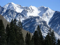 Peak Experience. Approaching the snow capped peaks in the Rocky Mountains of Colorado royalty free stock photos