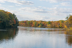 Peak Foliage Colors Along The River Royalty Free Stock Image
