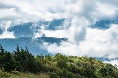 Peak green mountain white fog cloud scenic Stock Images