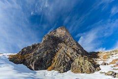 Peak of Hörnli mountain in Arosa Switzerland in winter, blue sk Stock Photography