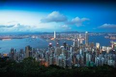 The peak. Hong Kong skyline at dusk, View from The peak, Hong Kong Stock Images
