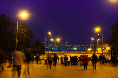 Peak-hour croud near metro station Sportivnaya in Moscow Stock Photography