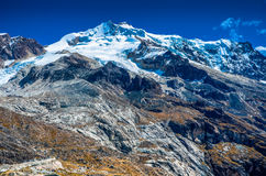 The peak Huayna Potosi, in the Cordilheira Real of La Paz Royalty Free Stock Photography