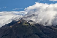 The peak of Imbabura volcano in Ecuador. Engulfed in clouds Royalty Free Stock Photos