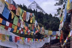 Peak Jambeyang of Shangrila. Peak Jambeyang on snow mountain of Shangrila with altitude higher than 4,000 meters which is a sacred place for Tibetan Buddhism Royalty Free Stock Photo