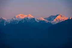 Kangchenjunga Mountain Himalayas Sunrise Distant Stock Images