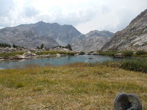 Peak Lake in Rocky Mountains. Resting at Peak Lake in Wind River Range, Wyoming stock photo