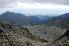 Peaks and Zabie pleso lake scenery Royalty Free Stock Image