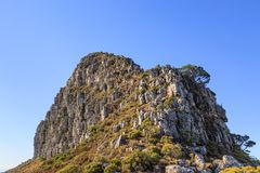Looking up at the Peak of Lion`s Head Mountain. The peak of Lion`s Head Mountain in Cape Town, with a blue sky overhead stock images