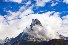 Peak Machapuchare over clouds, Nepal Royalty Free Stock Photo