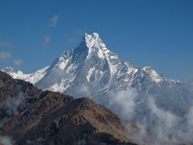 Peak of majestic Machapuchare Royalty Free Stock Photo
