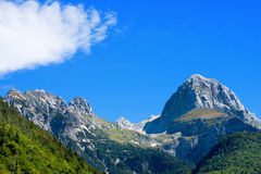 Peak of Mangart - Border Italy Slovenia Royalty Free Stock Photos