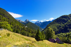 Peak of Mangart and Jalovec - Slovenia Stock Image