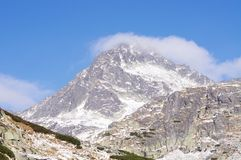 Peak in Mlynicka dolina valley with clouds Royalty Free Stock Photos