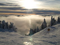 Peak Of Mont Tremblant. At the peak of the popular skiing destination, Mont Tremblant, Quebec, Canada Stock Photo