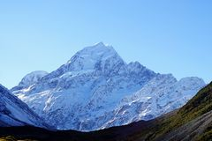 Peak of Mount Cook Aoraki in New Zealand Stock Photography